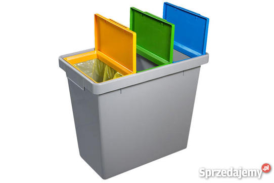 Kosz na śmieci z trzema kolorowymi komorami do segregacji
